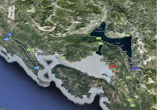 Harta fiordului Kotor